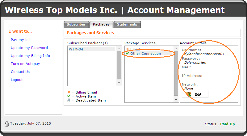 account manager - packages tab - other connection