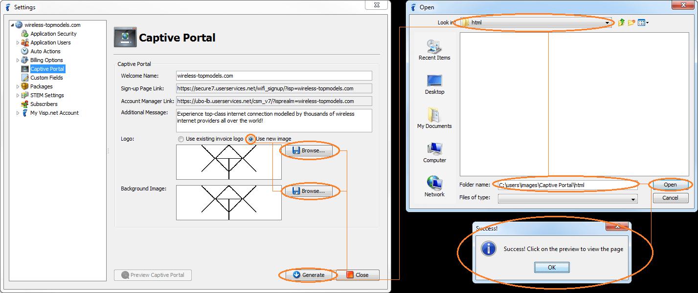 isp config - subscriber portal - captive portal - logos and bg