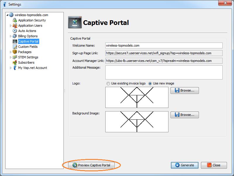 isp config - subscriber portal - captive portal - preview enabled