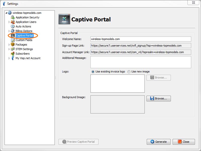 isp config - subscriber portal - captive portal