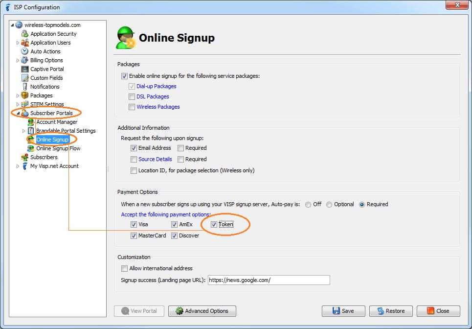 isp config - subscriber portals - online signup - enabled