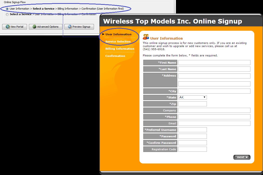 isp config - subscriber portals - online signup - user information